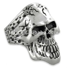 2012 new fashion silver plated skull ring