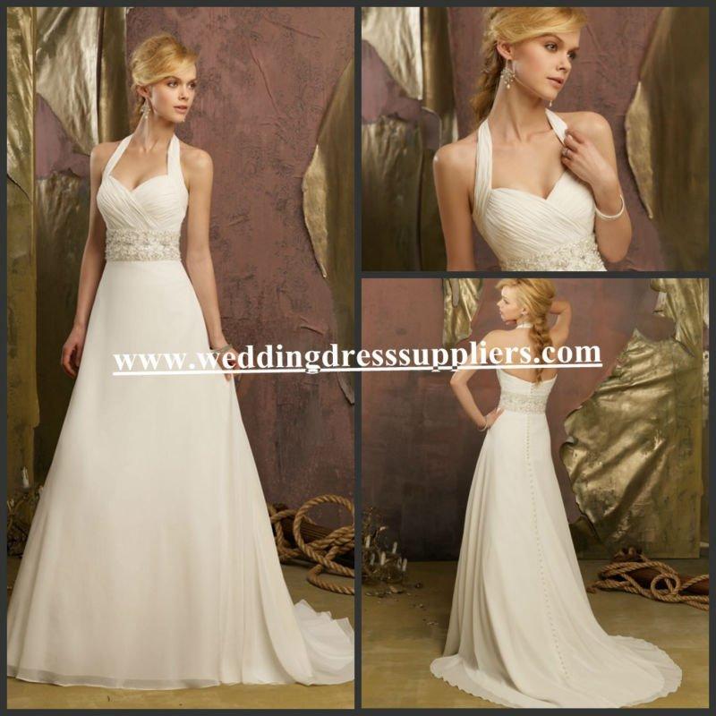Vestidos De Baño Estilo Halter:Ml6737 2013 nuevo estilo Halter una línea de gasa vestido de novia