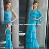 MLD70507 Elegant Light Blue Straps Crystal Long Slim More Layers Mother Dess With Jacket