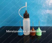 Hot!!plastic e-cigarette/e liquid bottle with needle cap for packing 10ml