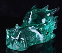 "5.12"" Man-Made Green Obsidian Dragon Skull Stone Carving Minerals #3J40"