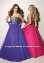 Wholesale - 2012 New Fashion Sweetheart Beading Tulle Pink/Purple Ball Gown Prom Dresses MR020