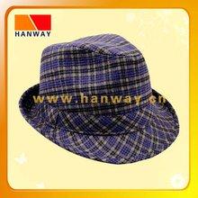 hot selling plaid fedora felt man hat