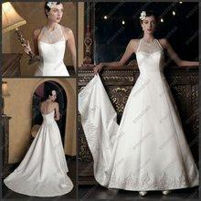 CB-1746 Elegant Appliqued Halter Neck Wedding Dress China With Long Train