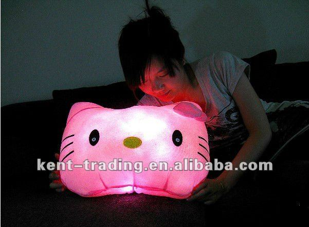 kitty led almohada con luces de colores y logotipo de oem es aceptable