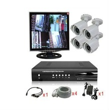 Super Economical H.264 security real time 4CH home CCTV camera Kits with Monitor (ELP-DVR1804T51P-D6520F)