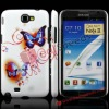 Bling Glitter Blue Flying Butterflies Diamond Inlaid Glitter Plastic Cover for Samsung Galaxy Note II N7100