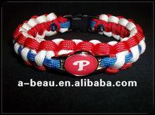 Custom Handmad red&white and blue P paracord bracelet