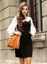Fashion garment 2012 newest doll collar long sleeve chiffon maxi dress