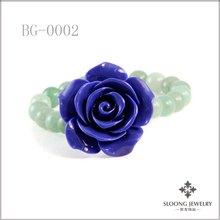 Aventurine Semi Precious Stone Elastic Bracelet with Large Blue Flower Accent Charm
