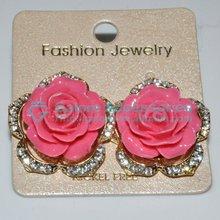 nice pink rose designer stud earrings for women