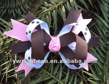 New products for 2013 brown and pink dots printed fashion hair bows for girls accessories