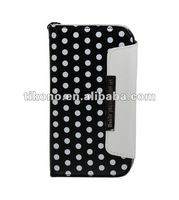 Polka Dots Stand Pouch Leather Case For Samsung Galaxy S3 i9300