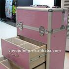 Pink rolling aluminum makeup case for beauty artist