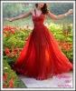 Hot red chiffon cheap straps dress women