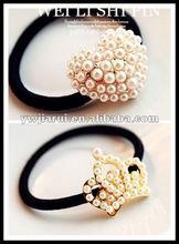 T140 hair accessory wholesale jewelry crown&heart pearl rhinestone exquisite headband hair pins elastic hair headband