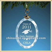 Vidro personalizado Oval ornamentos para presente da graduação