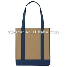 Long shoulder strap pocket foldable tote bag shopping