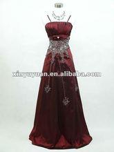 Hot Sale Wine Red A-line Sleeveless Taffeta Appliqued Bridesmaid/Birthday Party Dress XYY-wy13