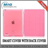 Smart cover with back hard cover for ipad2 3, for ipad 3 leather case