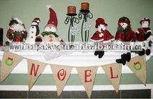 christmas letter banner Burlap Bunting in White