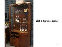 Chinese Walnut Glass Wine Cabinet