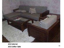 Chinese Walnut Sofa Set & Coffee Table