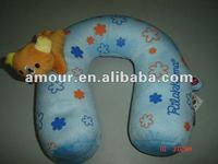 cute stuffed blue U pillow with Rilakkuma soft cartoon animal neck pillow cheap nap pillow for office
