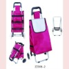 600D polyester folding trolley shopping bag with two wheels