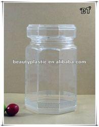 1L hexagon hard plastic capsules/chocolate container