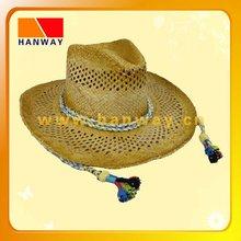 raffia straw cowboy hat,rope band with tassel