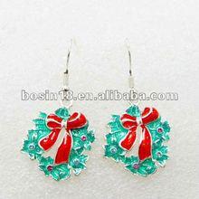 2014 New arrival Enamel Metal Christmas Novelty Bell Earring Jewelry Wholesale