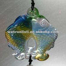 Crystal double fish handmade pendant