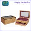 slots jewelry display case organizer wooden gift box with window lid