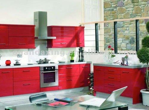 de color rojo del gabinete de cocina, Mobiliario de cocina de lujo de