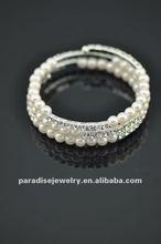3 row pearl and rhinestone graduated wraparound coil bracelet-BRW060401