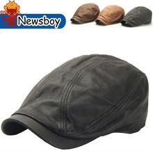 New Men Simple Style Synthetic Leather Ivy Cap Ascot Newsboy Beret Hat Black