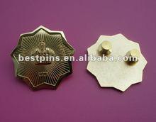 sand blasting crown logo flower edge gold badge emblem
