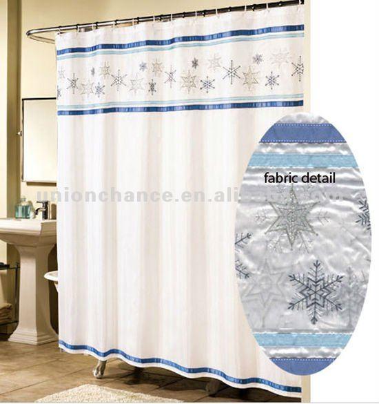 Snowflake Blue Fabric Christmas Bathroom Shower Curtain