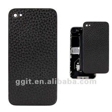 For Leather Back Cover Replacement With Supporting Frame For iPhone 4S - Black