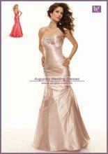 AEB0502 Formal Style Beaded Sweetheart Elegant Champagne Satin Evening Dress 2012