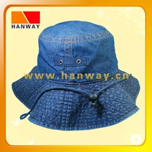 heavy garment wash denim fashion bucket hat and cotton rope with stopper