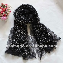 2012 latest fashion knit autumn winter lace scarf