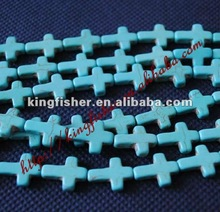Jewelry Natural Howlite Cross shape gemstone turquoise beads!! 22X30MM!! Hole size: 1.5mm!! Fashion for jewelry makings!! !!