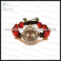 2013Fashion red shamballa bracelet watch