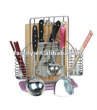 metal kitchen chopping block and knife rack