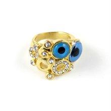 Hot Popular 2012 Flower Gold Ring Designs For Girl ,turkey evil eye ring(JW-7026)