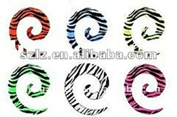 Fashion uv &arylic spiral ear plugs body jewelry