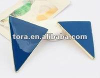 Fashion Gold Plated Enamel Triangle Stud Earring triangle earring studs gold earrings new model 2012
