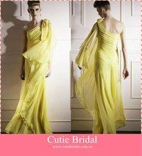 Latest One Shoudler Beading Chiffon Yellow Formal Evening Dress